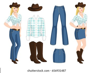 Vector illustration of blond cowgirl. Blue jeans, denim skirt, hat and boots on white background. Country style of clothes on white background