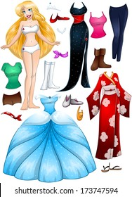 A vector illustration of a blond girl template outfit and accessories dress up pack.