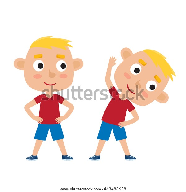 Vector Illustration Blonde Boy Exercise Pose Stock Vector