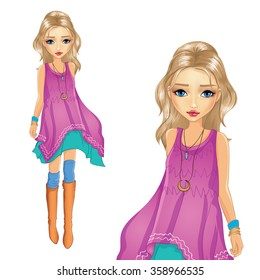 Vector illustration of blonde girl in purple tunic and high boots