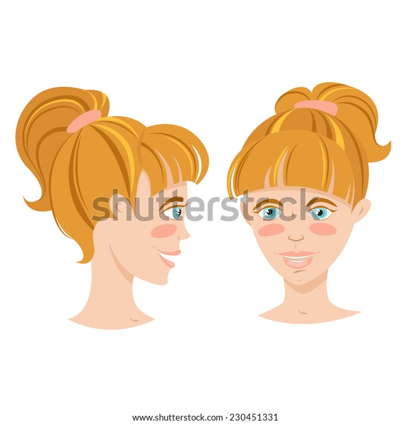 Vector illustration Blonde smiling young woman with hair tail