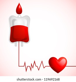 vector illustration of blood donation concept with heart