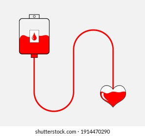 Vector illustration of blood donation on gray background