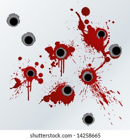 Vector illustration of bloody gunshots with blood splatters on the wall.