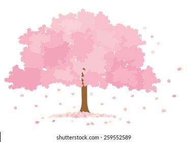 Vector illustration of blossom tree on white background