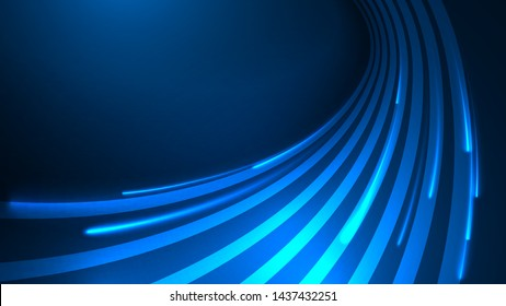 Vector illustration of blue abstract background with blurred magic neon light lines. Blurry highlights on a dark background. High-speed abstraction. Shining blue fine lines. Energy waves