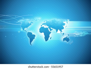Vector illustration of blue abstract hi-tech Background with Glossy world map