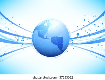 Vector illustration of blue abstract lines background - composition of curved lines and globe
