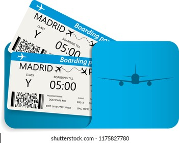 Vector illustration of blue airline tickets or boarding pass inside of special service envelope. Travel or tourism concept.