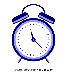 Vector illustration of blue alarm clock, isolated on the white background