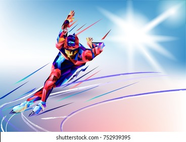 Vector illustration blue background in a geometric triangle of XXIII style Winter games. Olympic speedskater athlete speed skating ice arena from triangle silhouette