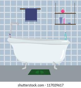 vector illustration of blue Bathroom