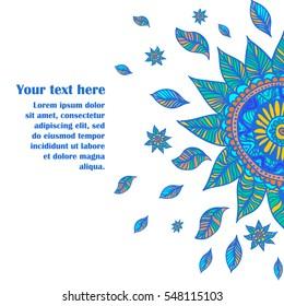 Vector illustration of blue boho flower for banner, card, poster, web design. Mandala.