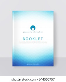 Vector illustration of a blue brochure template. Modern booklet, flyer, cover business report. Geometrical elements ( triangles). Abstract background for business design.
