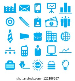 Vector illustration of blue business icons.