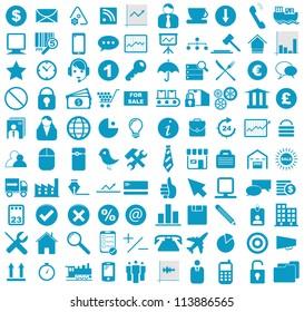 Vector illustration of blue business, media, internet, transportation icons.