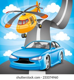 Vector illustration. Blue car and orange helicopter.