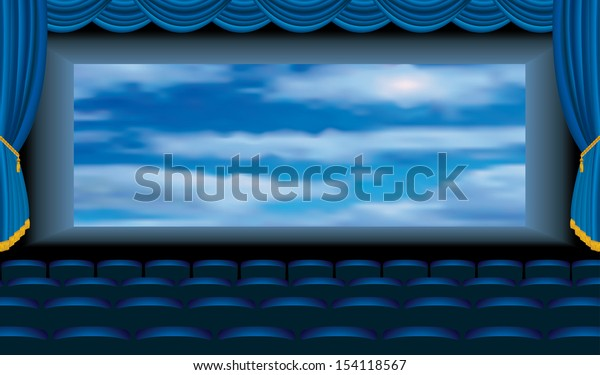 vector illustration of the blue cinema auditorium with sky on screen