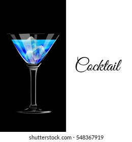 Vector illustration of blue cocktail with ice cubes on a black background.