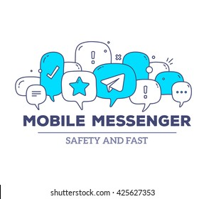 Vector illustration of blue color dialog speech bubbles with icons, text mobile messenger on white background. Safety, fast mobile messenger concept. Thin line art flat design of communication theme