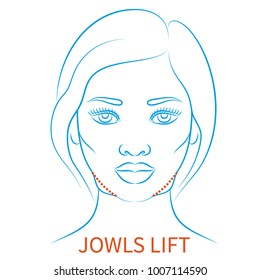 Vector illustration: blue contour hand drawn afro female face plastic surgery icon Jowls lift isolated on white background