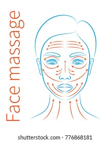 Vector illustration: a blue contour hand drawn asian female face icon with a face massage instruction  isolated on white background