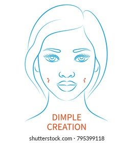 Vector illustration: blue contour hand drawn afro female face plastic surgery icon isolated on white background
