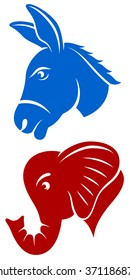 Vector illustration of a blue Democratic donkey and red Republican elephant.