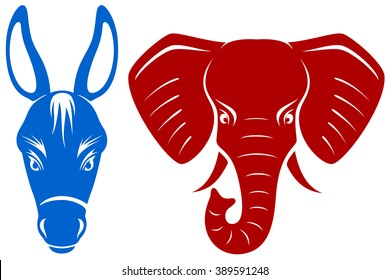 Vector illustration of a blue Democratic donkey and a red Republican elephant.