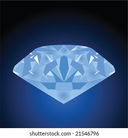 Vector illustration of a blue diamond over a black and blue background