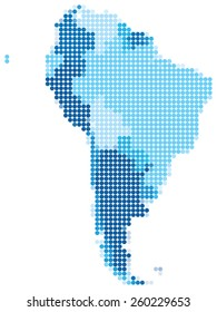 Vector illustration of blue dotted map of South America.