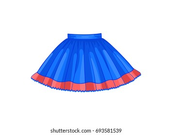 Vector illustration of blue flared skirt with red frill