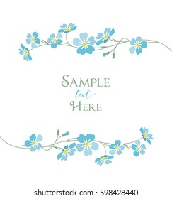 Vector illustration blue flowers. Branch of blue forget-me-not flowers