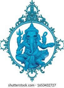 vector illustration of blue ganesha elephant symbol of gods religion hinduism