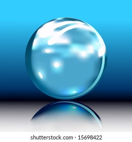 Vector illustration of blue glossy orb button. Sphere great for many purposes.