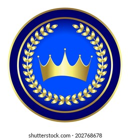 Vector illustration of Blue - gold print with crown