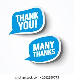 Vector Illustration blue grateful Thank you bubbles set