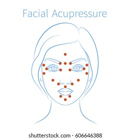 Vector illustration: blue hand drawn european woman face with instructions for facial acupressure isolated on white background