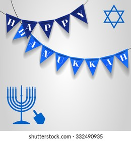 """Vector illustration with blue Hanukkah candles, dreidel and star of David with text """"Happy Hanukkah"""" on dark and light triangle festival flags"""