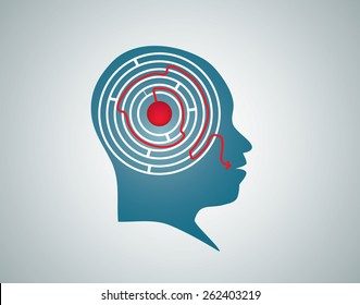 Vector illustration of blue head silhouette with white maze, labyrinth inside with red way, arrow line coming out of mouth. Think, find solution, solve problem and speak, say share concept, symbol.