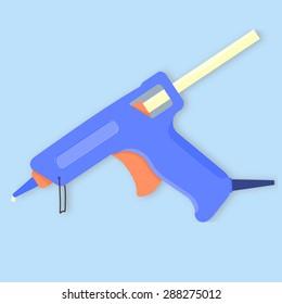 Vector illustration of blue hot glue gun with orange trigger