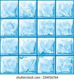 Vector illustration of blue ice brick seamless pattern