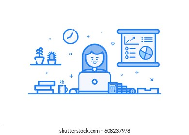 Vector illustration of blue icon in flat line style. Linear cute and happy girl. Graphic design concept of woman financial accountant use in Web Project and Applications Outline filled isolated object