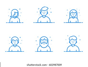 Vector illustration of blue icon set in flat line style. Linear cute and happy people. Graphic design concept of Emoji and Avatar. Use in Web Project and Applications Outline isolated object.