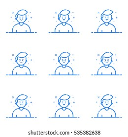 Vector illustration of blue icons in flat line style. Linear cute and happy mans. Graphic design concept of Emoji and Avatar. Use in Web Project and Applications Outline isolated object.