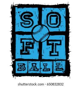 Vector illustration blue inscription softball and ball. Design for print t-shirt.
