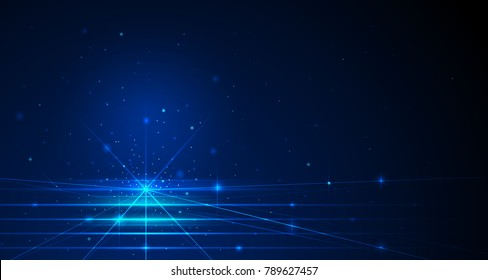 Vector illustration blue lines with sparkle on space and dark blue color background. Hi-tech digital technology concept. Abstract futuristic, shiny lines background