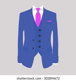 Vector illustration of blue man suit with pink tie and white shirt on grey background. Business suit, business, mens suit, man in suit