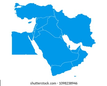 Vector illustration of a blue map of the Middle East