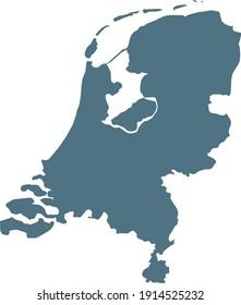 vector illustration of Blue map of Netherlands